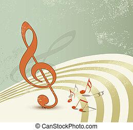 musica, fondo, retro