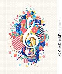 musica, forma, nota, chiave g, triplo, colorare, icona, concetto