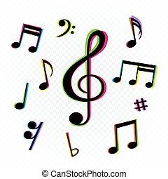 musica, forma, segno, note, set, glitch, colorato
