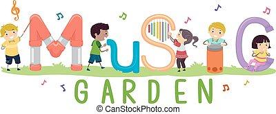 musica, giardino, bambini, stickman, illustrazione