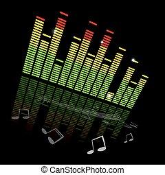 musica, grafico, note, vettore, sfondo nero, equaliser, personale