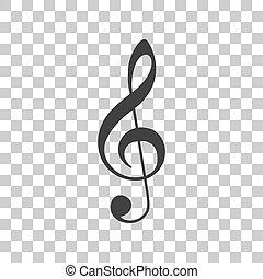 musica, grigio, fondo., segno., violino, g-clef., chiave, triplo, clef., icona, trasparente, scuro