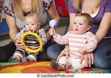 musica, gruppo, madri, bambini