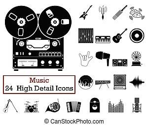 musica, icone, 24, set