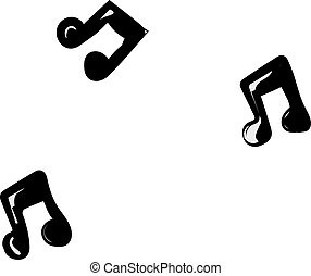 musica, illustrazione, bianco, vettore, fondo., note