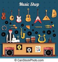 musica, illustrazione, negozio