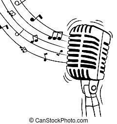 musica, isolato, note, microfono, musicale