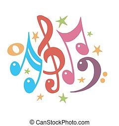 musica, musicale, illustration., value., fondo., vettore, symbols., nota, staff., colorito, colorare, mensural, .abstract, notation., note