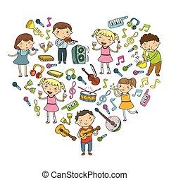 musica, musicale, vettore, collezione, bambini giocando, scarabocchiare, lezione, asilo, icona, bambini, scuola, strumenti, canto, illustrazione, canzoni