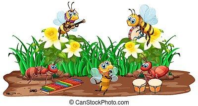 musica, natura, insetto, gioco