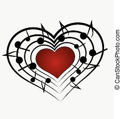 musica, nota amore, logotipo, cuore