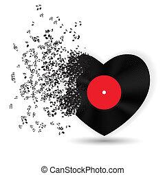 musica, note., vettore, scheda, valentines, cuore, giorno, felice, illustrazione