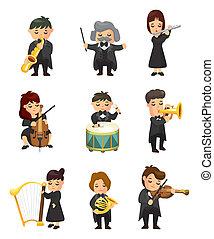 musica, orchestra, giocatore