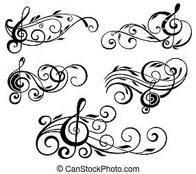 musica, ornamentale, turbini, note