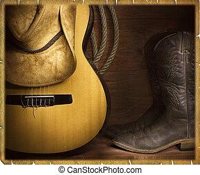 musica paese, fondo, cowboy