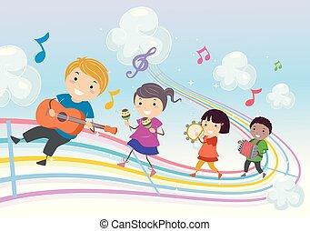 musica, parata, stickman, bambini, illustrazione, arcobaleno