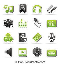musica sana, audio, icone