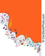musica, sfondo bianco, solide, colorare, note
