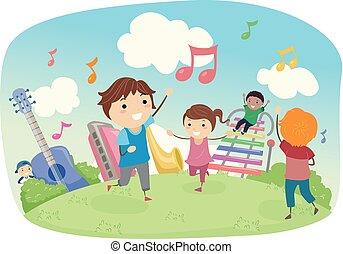 musica, stickman, campo giuoco, bambini, illustrazione