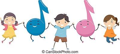musica, stickman, salto, bambini, illustrazione, note