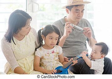 musica strumento, gioco, casa famiglia