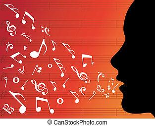 musica, testa, donna, silhouette, note