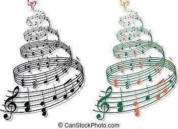 musica, vettore, albero, note