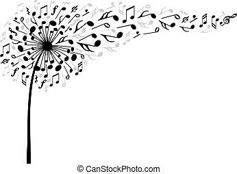 musica, vettore, fiore, dente leone