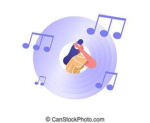 musica, vinile, cd, donna, icona, cuffie