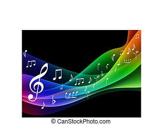musicale, colorare, onda, spettro, note
