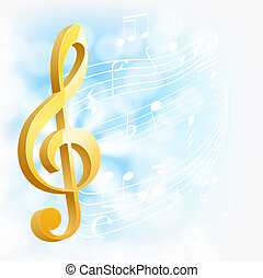 musicale, fondo, dorato, chiave