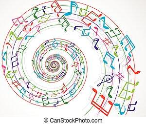musicale, fondo, note, colorito