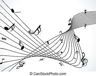 musicale, fondo, vettore, astratto
