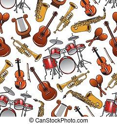 musicale, modello, orchestra, strumenti, seamless