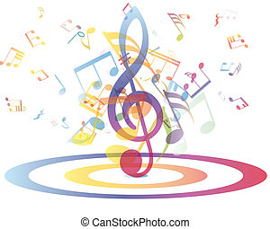 musicale, multicolour