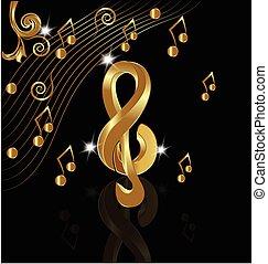 musicale, oro, note