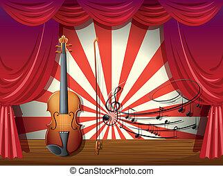 musicale, palcoscenico, note, violino