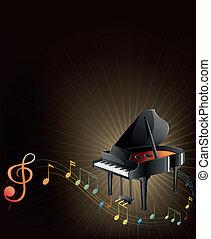 musicale, pianoforte, grigio, note