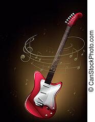 musicale, rosso, note, chitarra