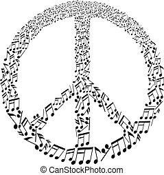 musicale, segno, pace, note