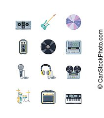 musicale, set, strumenti, bianco, icone, fondo