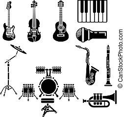 musicale, set, strumento, icona