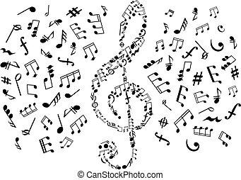 musicale, simboli, chiave, triplo, note