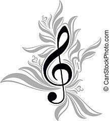 musicale, triplo, fondo, clef., astratto