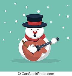 musicista, scheda, chitarra gioca, natale, pupazzo di neve