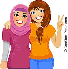 musulmano, amici, caucasico