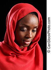 musulmano, giù, americano, occhiate, africano, hijab, ragazza