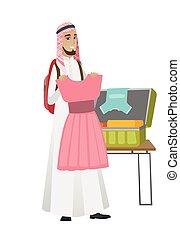 musulmano, giovane, imballaggio, viaggiatore, suitcase., uomo