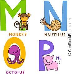 n, alfabeto, o, p, animale, m