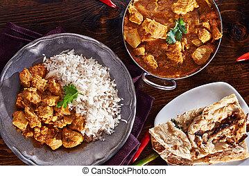 naan, basmati, piatto, pietanza, balti, indiano, riso, curry, pasto